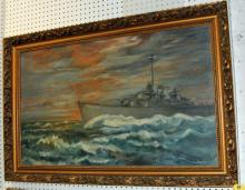 Oil Painting of USS Colhound