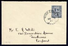 Definitives: 4d on cover to England, FDC