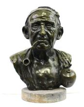 Modern Bronze Bust Of a Man With Pipe Signed