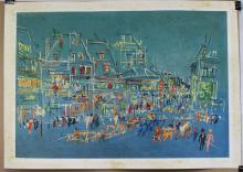 Lithograph of Paris at Night After Jean Dufy