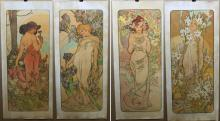 Set of 4 Lithographs After Mucha