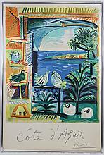 After Picasso Cote d'Azur Henri Deschamps Stone Signed Lithograph