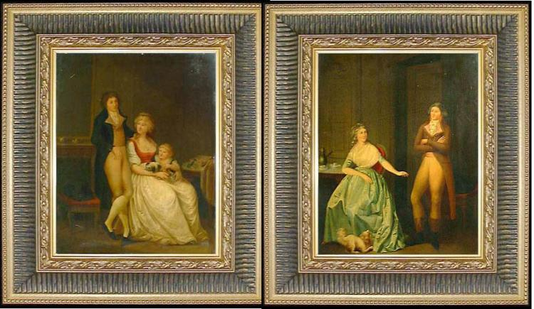 Attributed to Louis Leopold Boilly Pair of 18th Century French oil on Panel Paintings