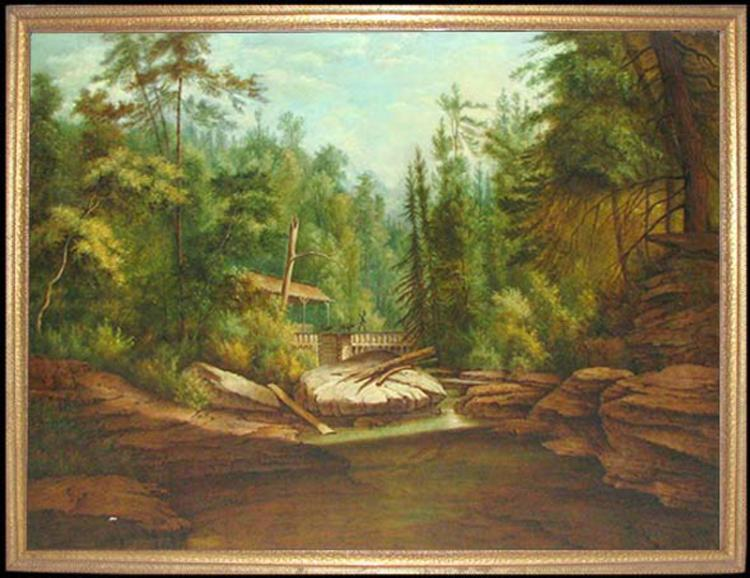 19 Century American Hudson River School Oil On Canvas Painting