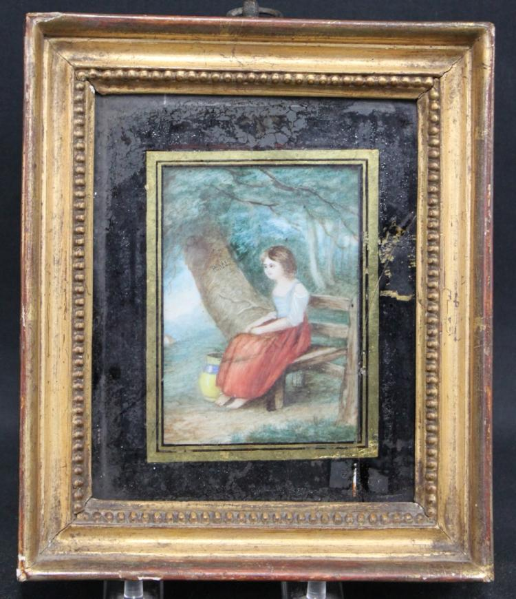 19th Century English Miniature Painting of a Seated Women in a Garden