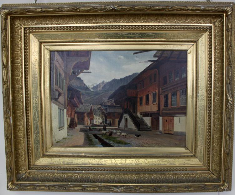 Belgian 19 Century Oil On Canvas Painting By Roffiaen