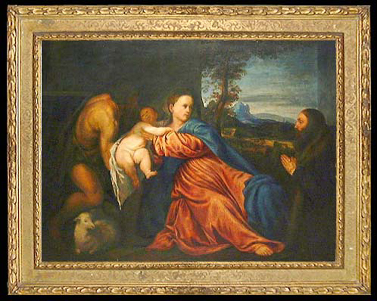 After Titian Oil on Canvas Painting of Madonna and Child