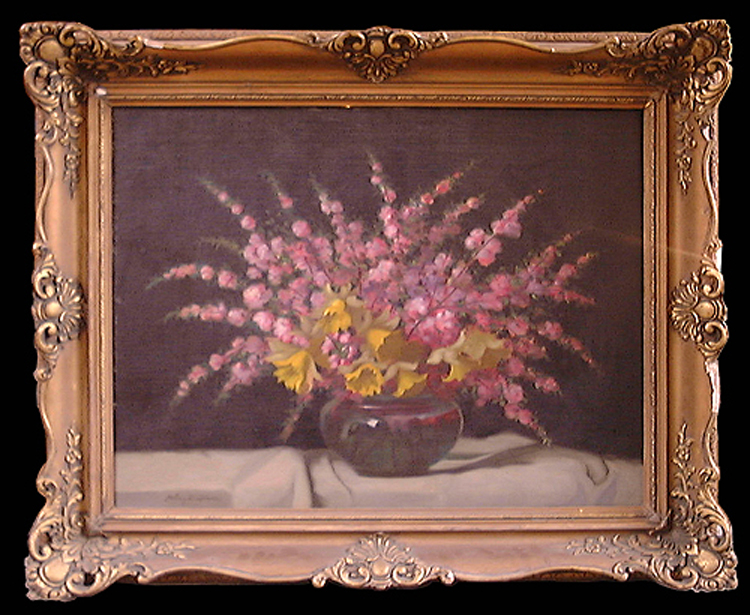 19th Century Oil on Canvas Still Life Painting by Janos Z Molnar