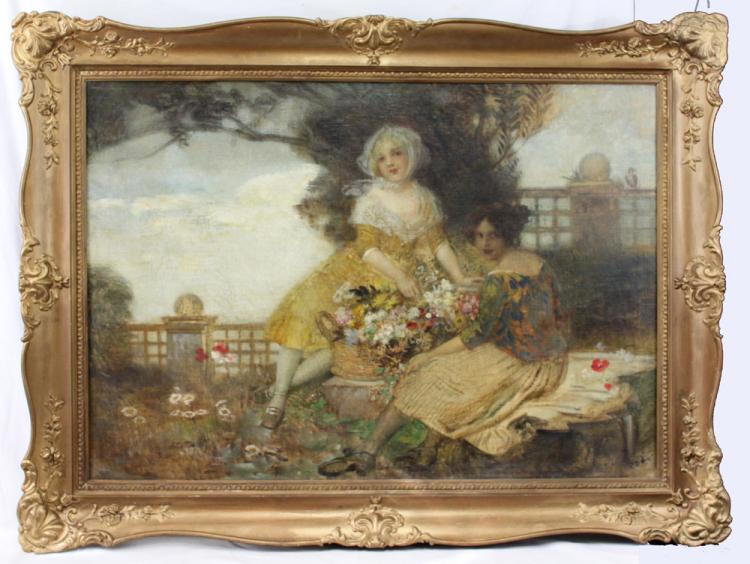 19 Century Austrian Oil On Canvas Painting By Edward Veith (1856-1925)
