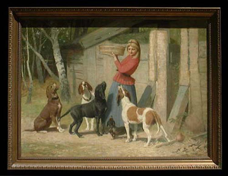 19 Century German Oil on Canvas Painting By Albert Becker