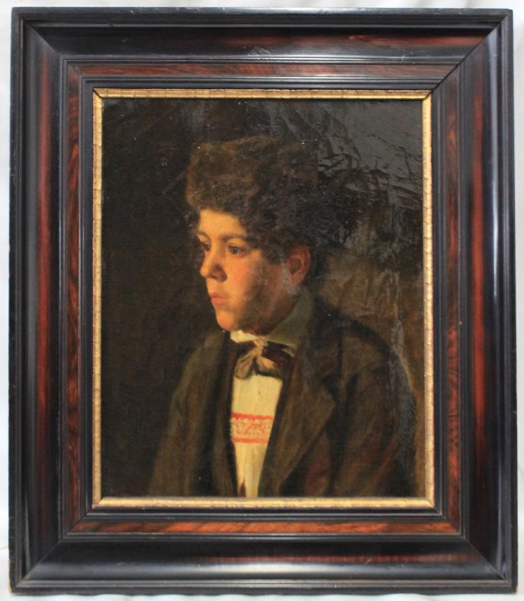 19 Century European Oil On Canvas Jewish Student Painting