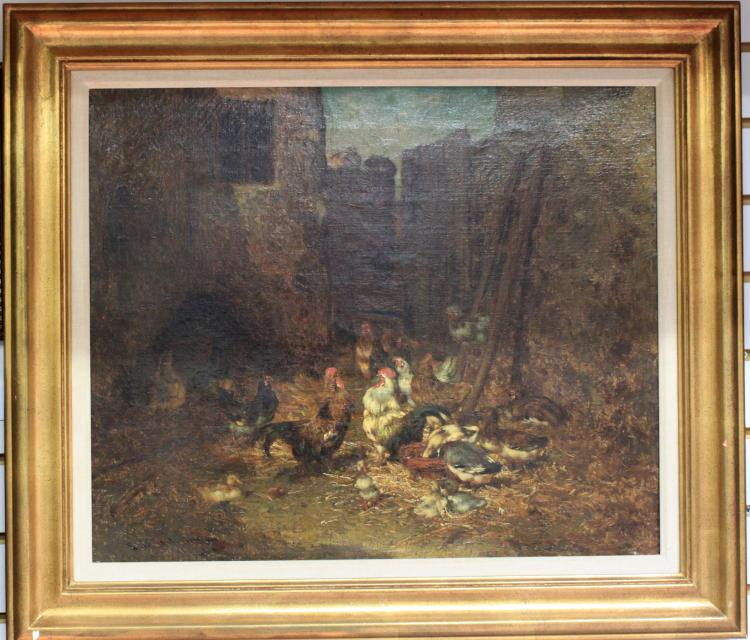 19-Century French Oil on Canvas Painting, Signed