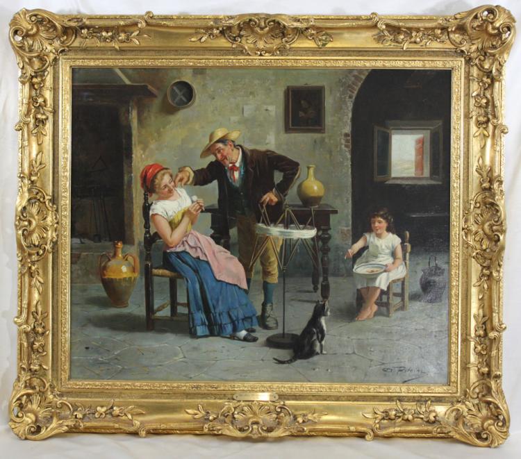 19 Century Italian Oil on Canvas Painting by Petrini, Signed