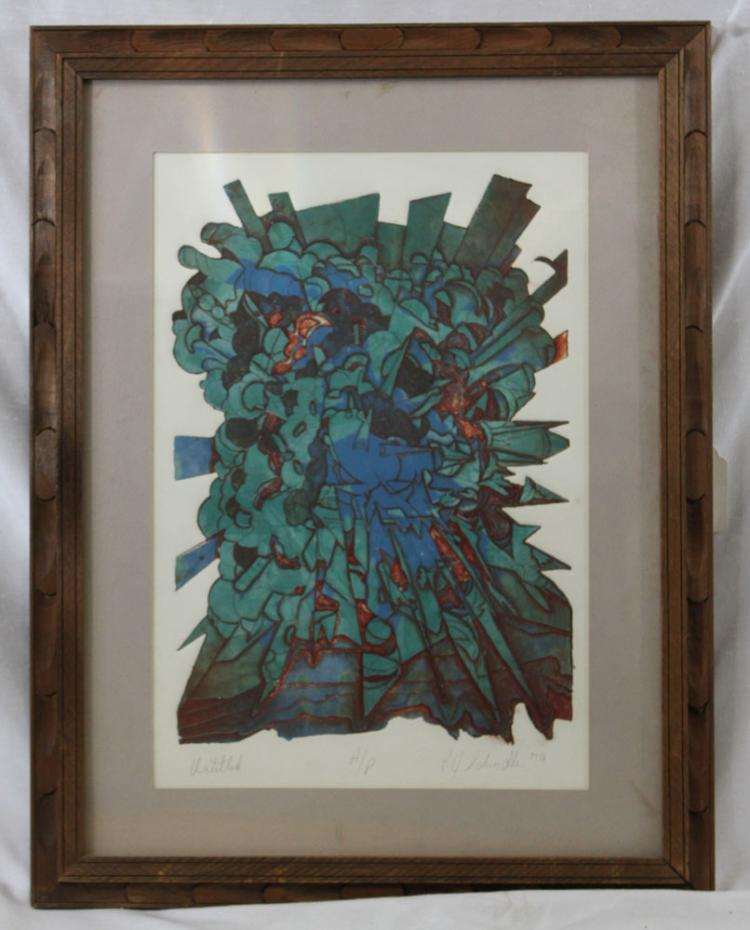 R. D Schimall Artist Proof Signed Limited Edition Abstract Etching