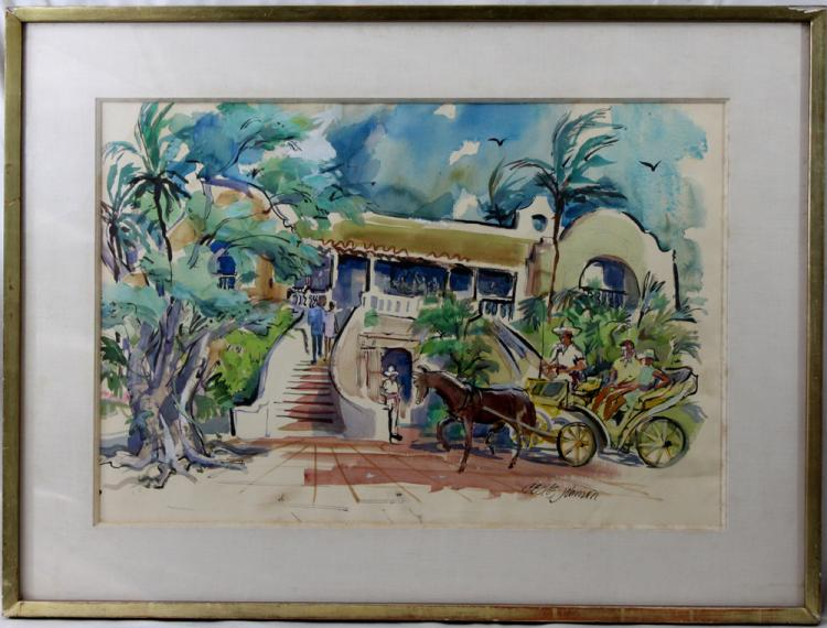 American Watercolor Painting by Cecile Johnson