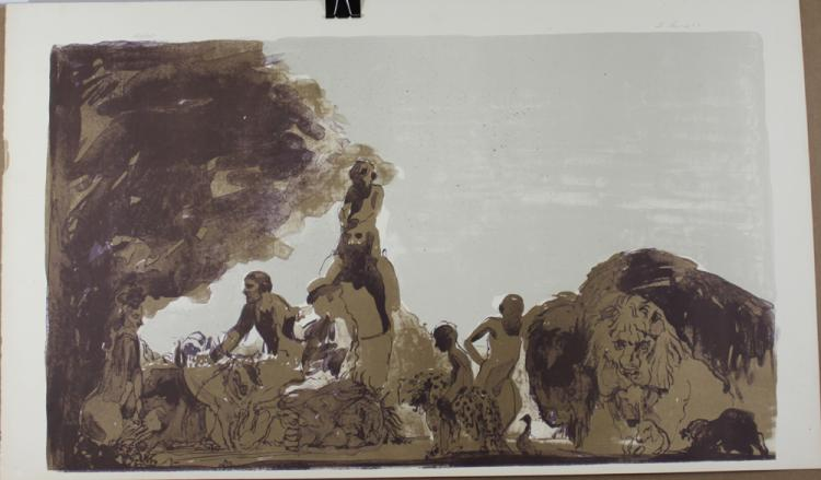 TWO LITHOGRAPHS BY LEVINE, SIGNED & DATED