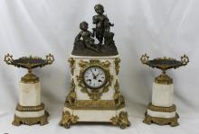 Late 19th Century French Gilt-Bronze & Marble Clock Set