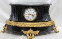 19th Century French Black Marble and Bronze Clock