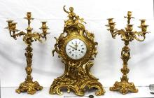 19th Century French Bronze Clock Set (with Candle Holders)