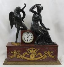 19TH CENTURY FRENCH EMPIRE MARBLE AND BRONZE CLOCK
