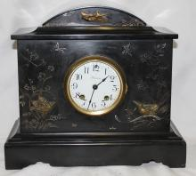 19th Century French Black Marble Clock With Ansonia Movement.