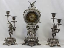 19th Century French Bronze and Silver Patinated Clock Set with Two Candelabras