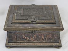 French 19 Century Bronze Casket Jewelry Box
