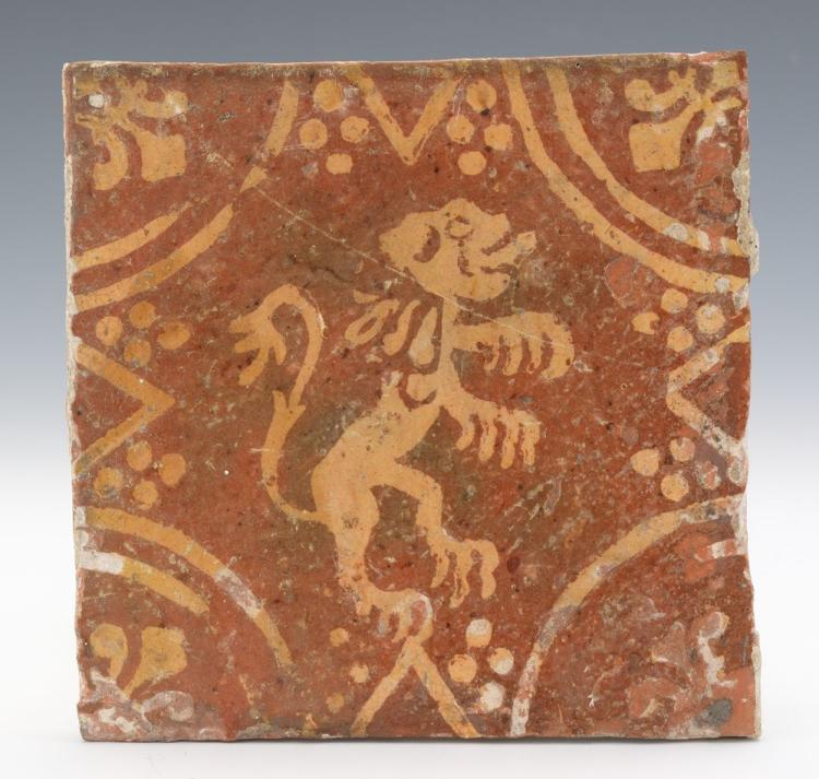 16th Century Dutch Ceramic Decorative Tile