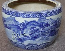 MEIJI PERIOD OLD LARGE HAND PAINTED PORCELAIN JAPANESE  PLANTER HIBACHI