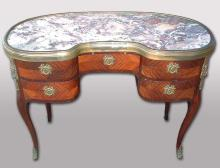 19th Century French Bronze and Marble Top Desk