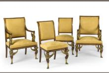 A Set of Four Empire Style Gilt Bronze Mounted Mahogany Chairs
