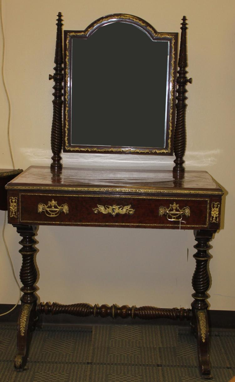 Th century french mahogany dressing table with mirror