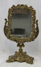 20th Century Cast Brass Table Mirror