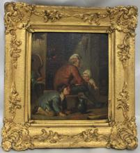 18-19 Century Dutch Oil On Metal Painting