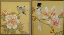 Pair (Two) Old Hand Painted Drawing of Birds