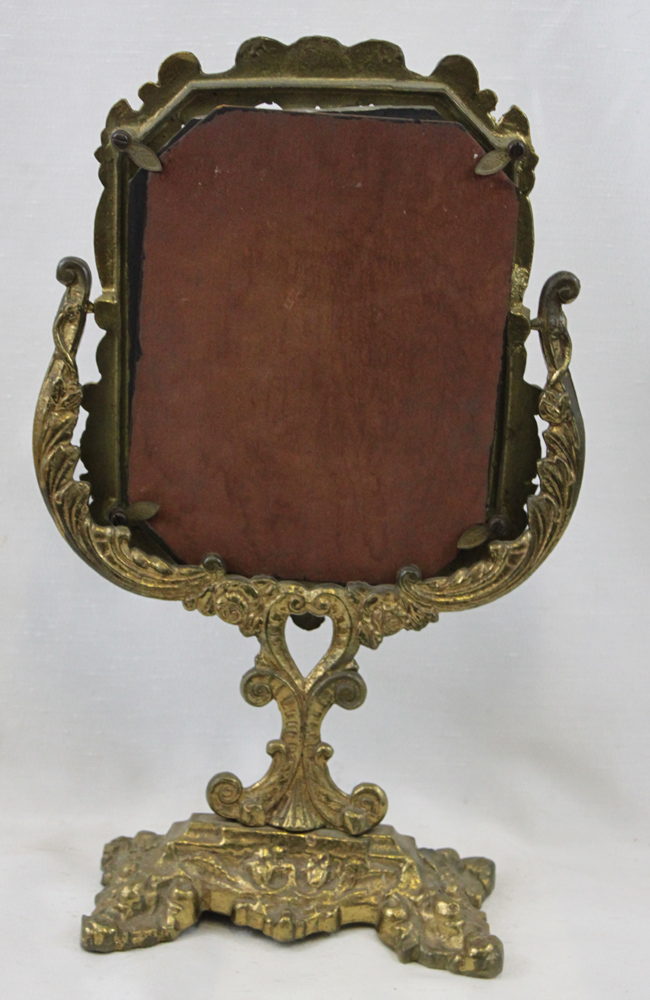 20th century cast brass table mirror for Mirror mirror cast