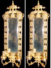 Pair of 19 Century French Wall Lights with Mirror