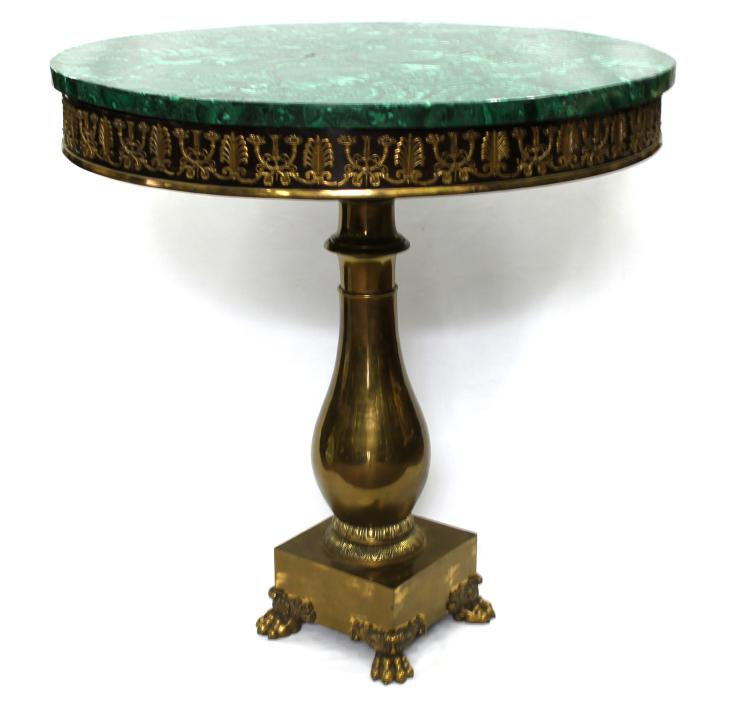 19th century empire center table with malachite top for Th 37px60b table top stand
