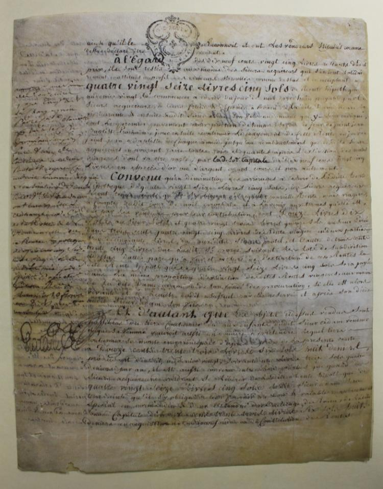 1788 (18 Century) French Manuscript Document on Parchment