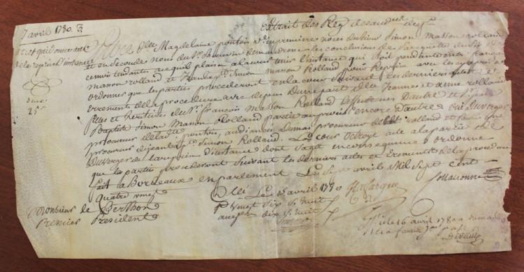 1780 (18 Century) French Manuscript Document on Parchment