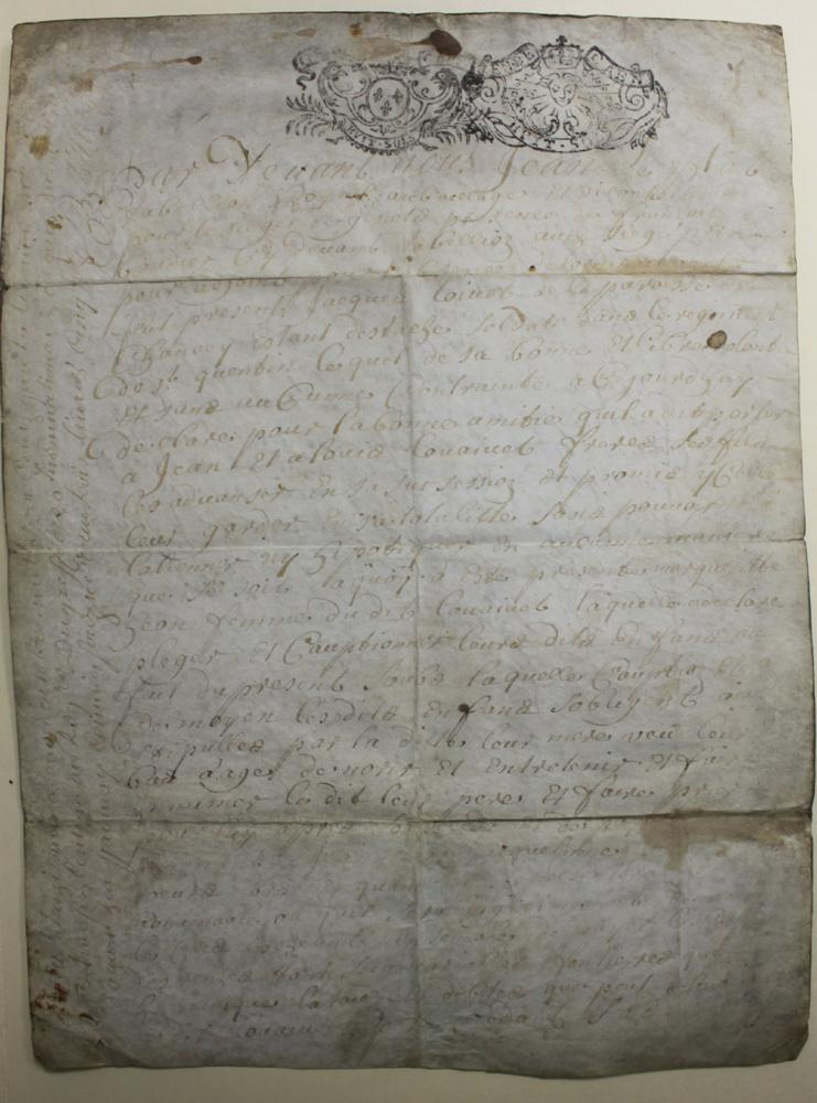 1712 (18 Century) French Manuscript Document on Parchment