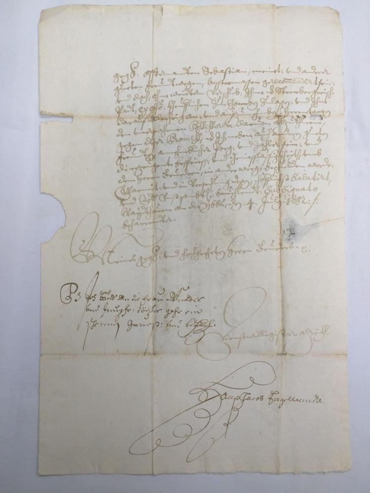 Manuscript Leaf with Wax Seal Hans Jacob E