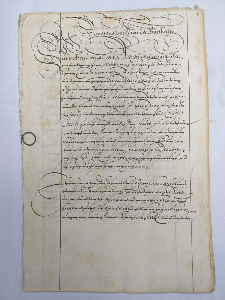 Three German 16 th Century Manuscript Leaves