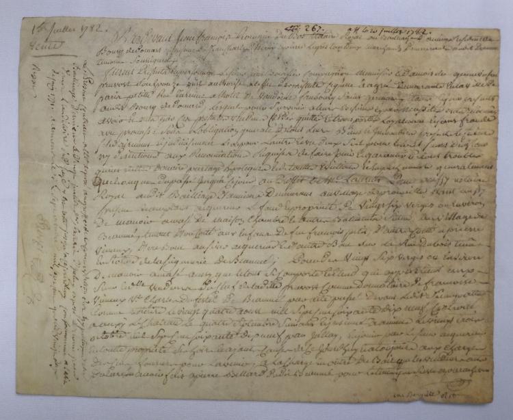 Dated 1728 Parchment Manuscript Leaf