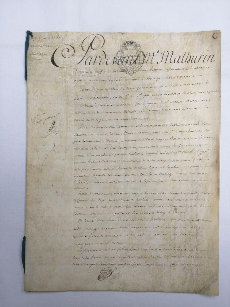 1765 Marriage Contract Two Manuscript Leaves
