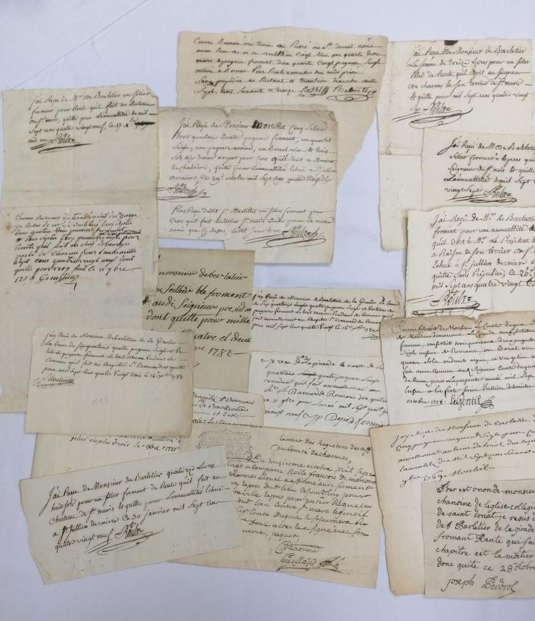 Eighteen (18) Manuscript Leaves