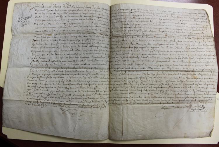 Large 1644 (17 Century) French Manuscript Document on Parchment