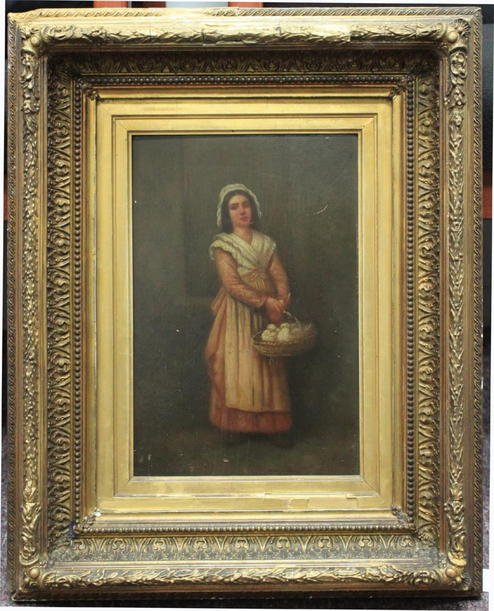 English School (19th Century) - A young girl holding a basket of doves