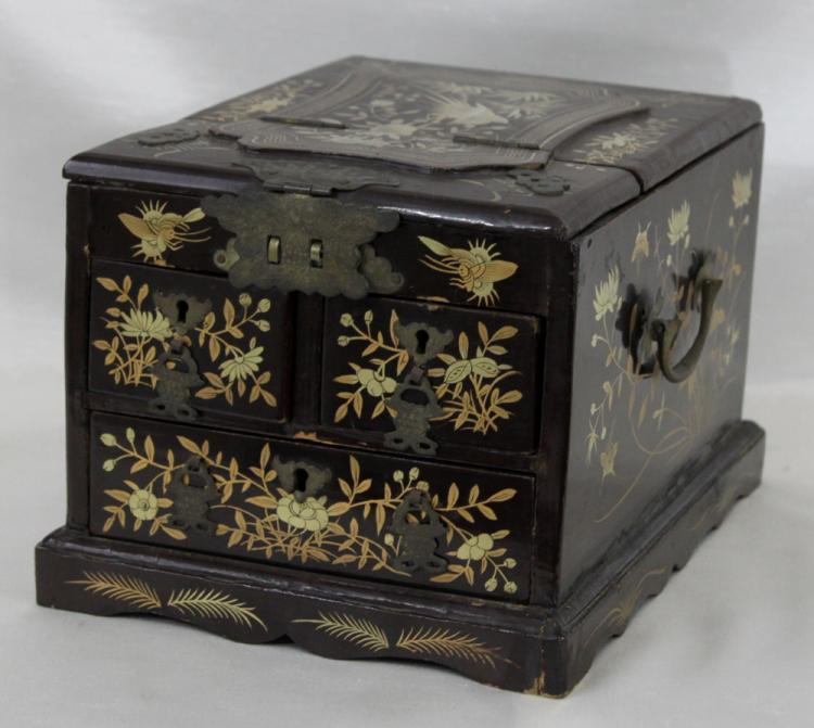 Chinese or Japanese, A Gilt Metal Mounted and Gilt Decorated Lacquer Mah-Jong Game