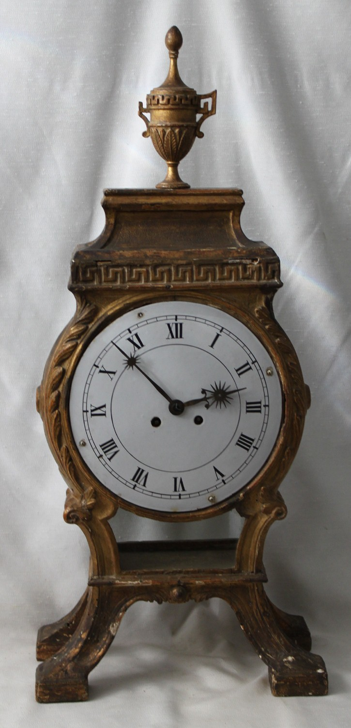 French Late 18th Century Giltwood Mantel Clock